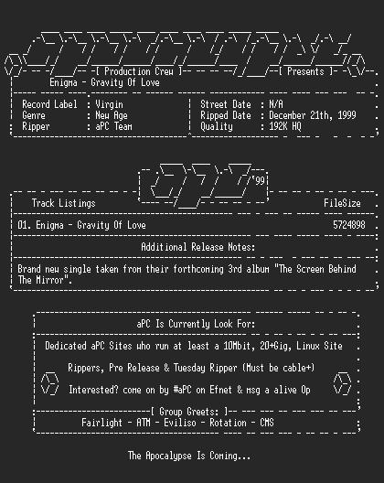 NFO file for Enigma-Gravity_Of_Love-Promo_Single-1999-aPC