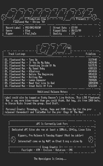 NFO file for Fleetwood_Mac-Shrine_69-1999-aPC