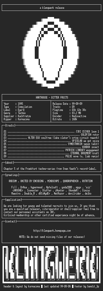 NFO file for Harthouse--bitter.fruits-1995-kW