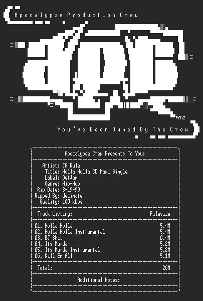 NFO file for Ja_Rule-Holla_Holla_CD_Maxi_Single-1999-aPC