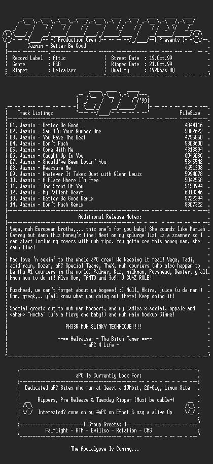 NFO file for Jazmin-Better_Be_Good-1999-aPC