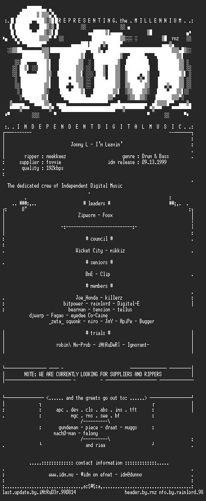 NFO file for Jonny_L_-_Im_Leavin_(single)-IDM