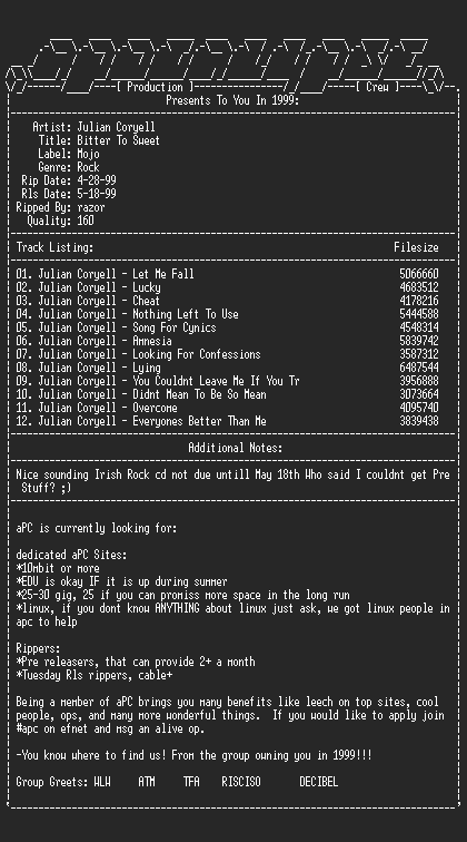 NFO file for Julian_coryell-bitter_to_sweet-1999-apc