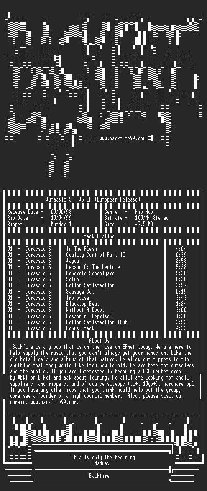 NFO file for Jurassic_5_-_J5_LP_(European_Release)-1998-BKF