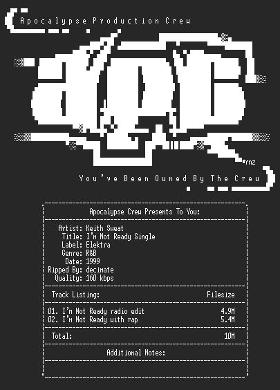 NFO file for Keith_sweat-im_not_ready_single-1999-decimate-apc