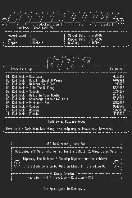 NFO file for Kid_Rock-Woodstock_99-1999-aPC