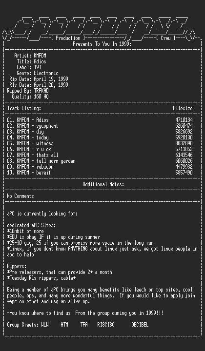 NFO file for KMFDM-Adios-1999-aPC