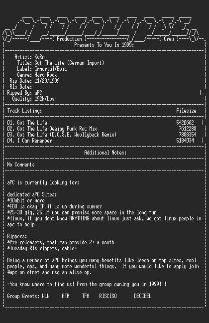 NFO file for Korn-Got_The_Life_(German_Import)-1999-aPC