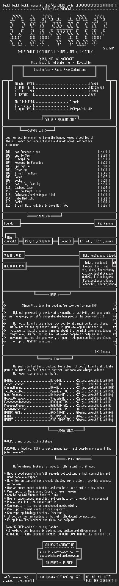 NFO file for Leatherface-Radio_Free_Sudentland-199x-rH