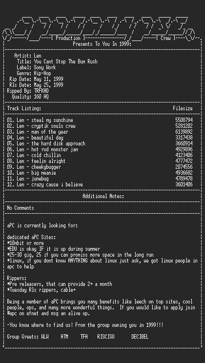 NFO file for Len-you_cant_stop_the_bum_rush-1999-apc