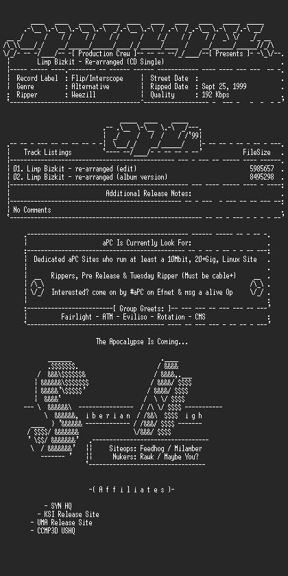 NFO file for Limp_Bizkit-Re-arranged_(CD_Single)-1999-aPC