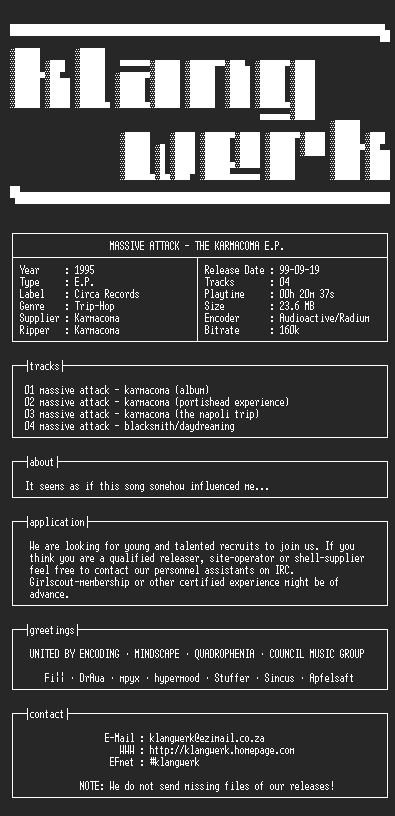 NFO file for Massive.attack--the.karmacoma.e.p.-1995-kW
