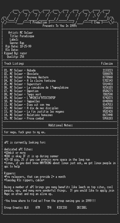 NFO file for MC_Solaar-Prose_Combat-1994-apc