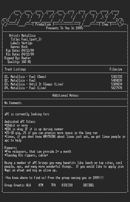 NFO file for Metallica-Fuel (Part_3)-1998-aPC