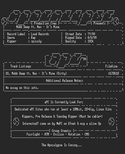 NFO file for Mobb_deep_ft._nas-its_mine_single-1999-apc