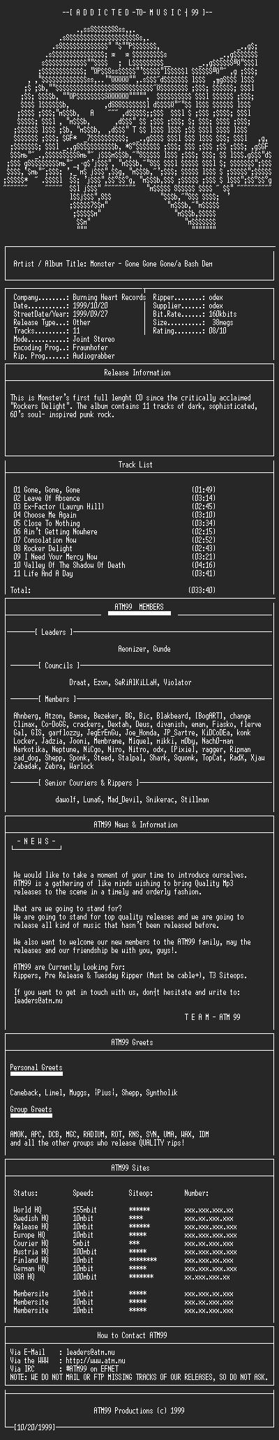 NFO file for Monster_-_Gone_Gone_Gone-A_Bash_Dem_-_(1999)-ATM99