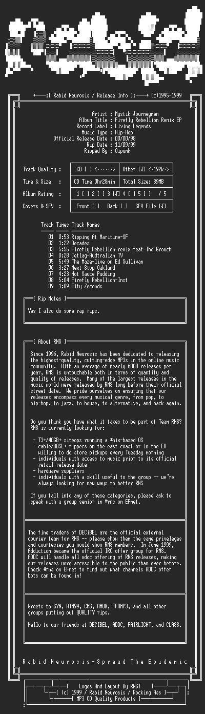 NFO file for Mystik_Journeymen-Firefly_Rebellion_Remix_EP-1998-RNS
