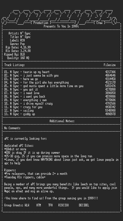 NFO file for N_sync-n_sync-1998-apc