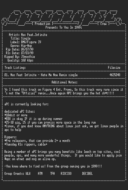 NFO file for Nas-hate_me_now_remix_single-1999-apc