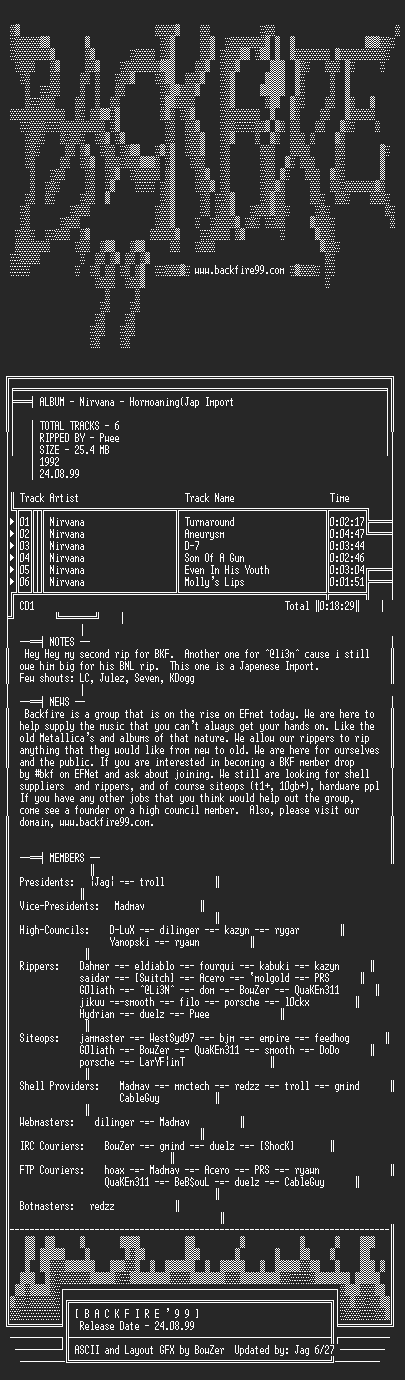 NFO file for Nirvana_-_Hormoaning_Import-1992-BKF