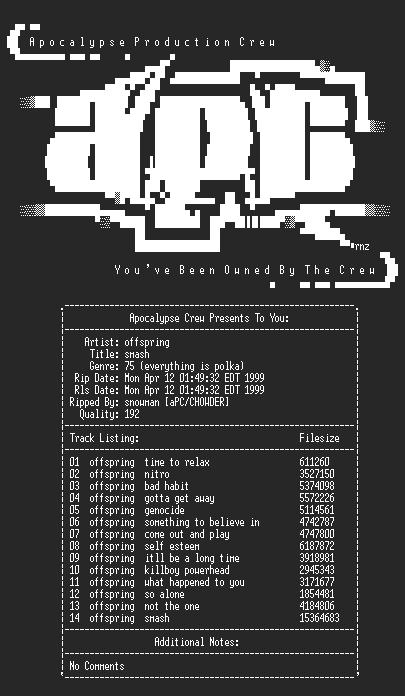 NFO file for Offspring-Smash-1994-aPC