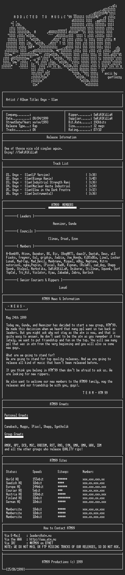 NFO file for Onyx_-_Slam(1993)(single)-ATM99