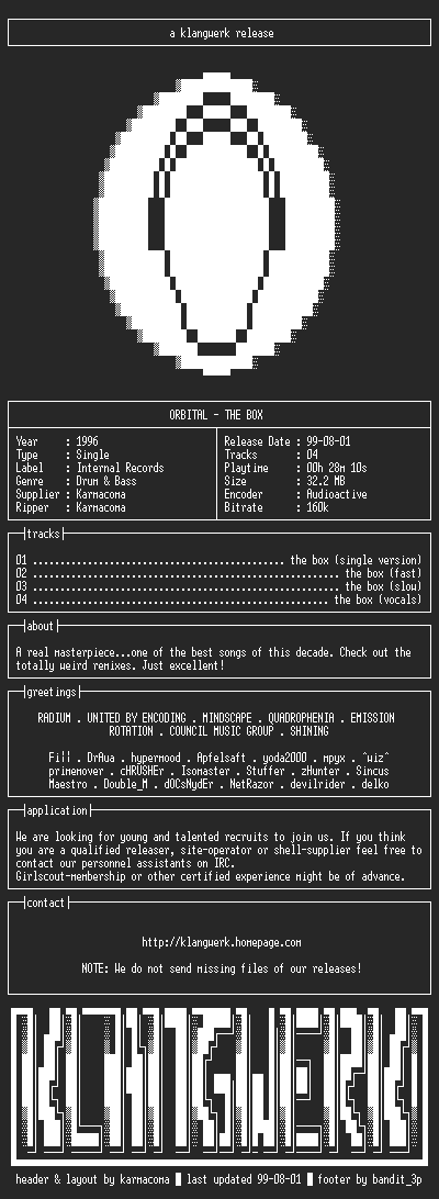 NFO file for Orbital--the.box-1996-kW
