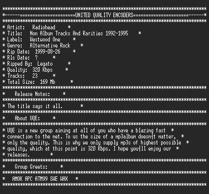 NFO file for Radiohead-Non_Album_Tracks_And_Rarities_1992-1995-UQE