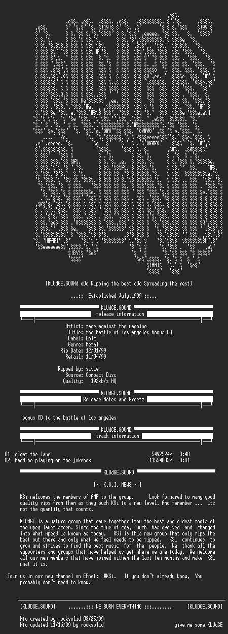 NFO file for Rage_Against_The_Machine-The_Battle_Of_Los_Angeles_Bonus_CD-1999-KSi