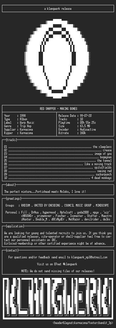 NFO file for Red.snapper--making.bones-1998-kW