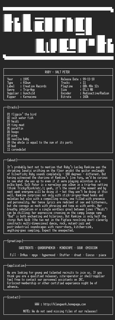 NFO file for Ruby--salt.peter-1995-kW