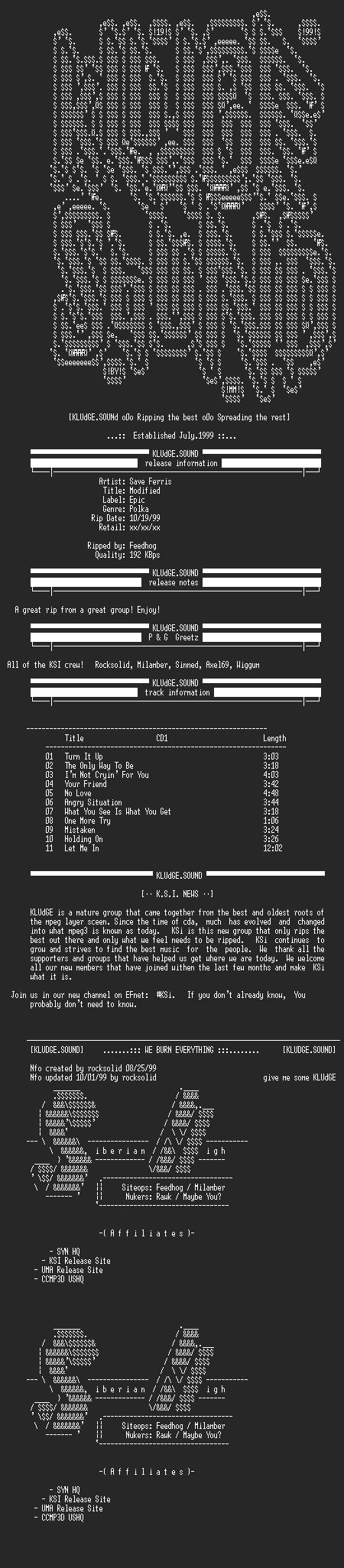 NFO file for Save_Ferris-Modified-1999-KSi