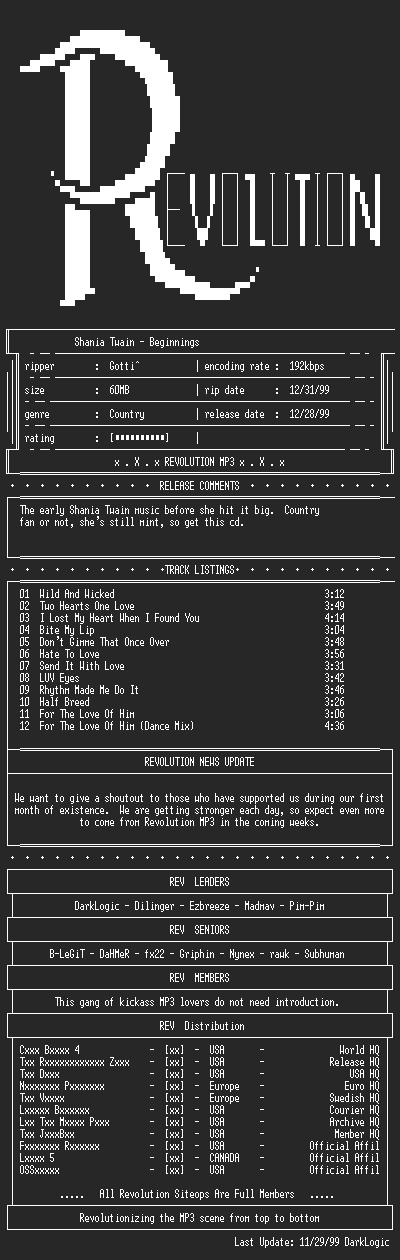 NFO file for Shania_Twain-Beginnings-1999-REV
