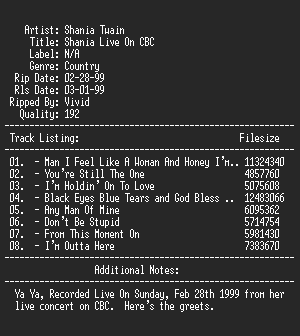 NFO file for Shania_twain-shania_live_on_cbc-vivid-apc