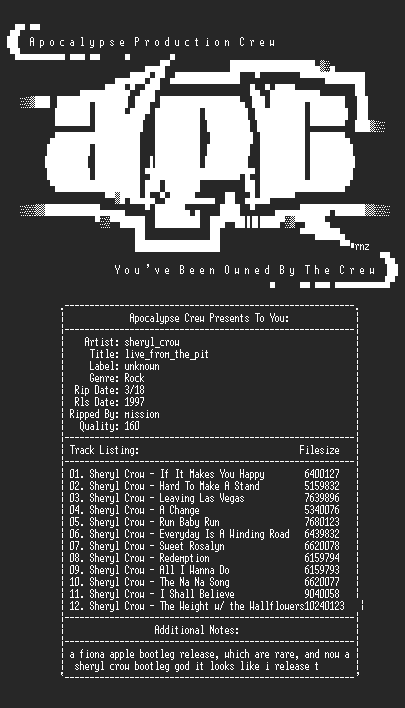 NFO file for Sheryl_Crow-Live_From_The_Pit-1997-aPC