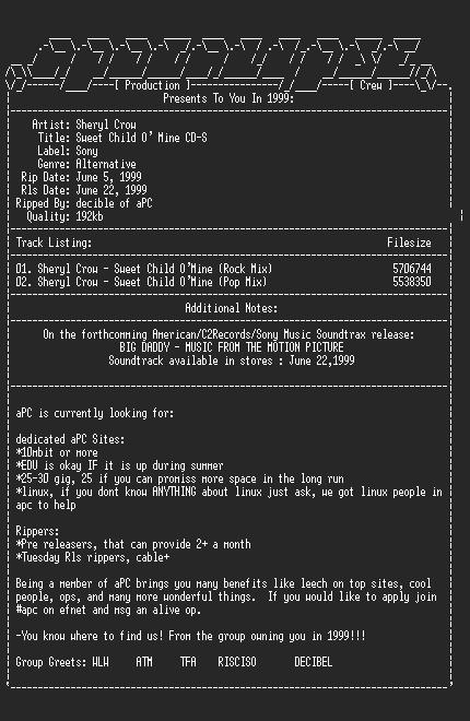 NFO file for Sheryl_Crow-Sweet_Child_O_Mine_CD-S-1999-aPC