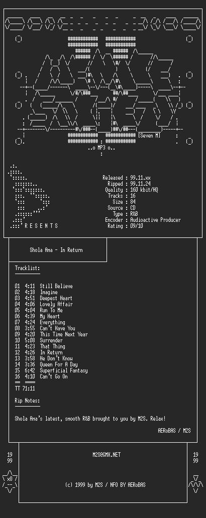 NFO file for Shola_Ama-In_Return-1999-M2S