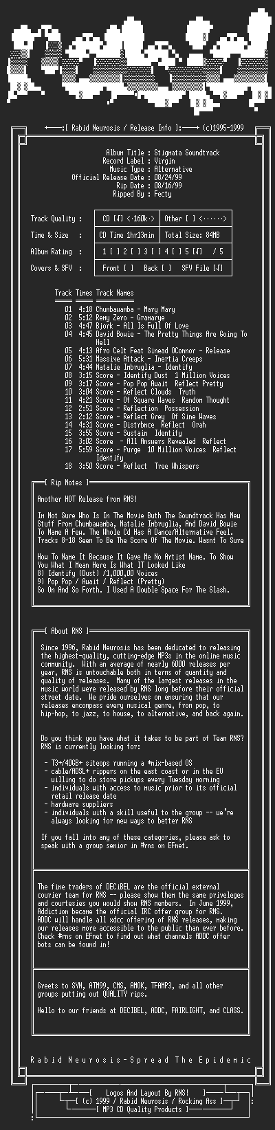 NFO file for VA-Stigmata_Soundtrack-1999-RNS