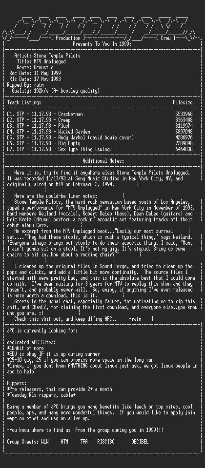 NFO file for Stone_Temple_Pilots-MTV_Unplugged-New_York_City-Nov17_93-ratm-aPC