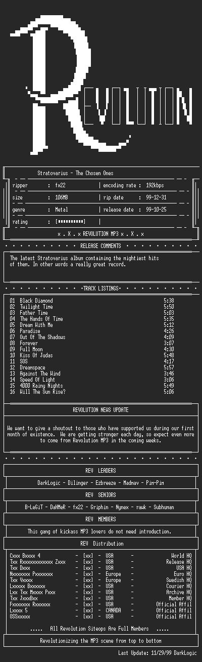 NFO file for Stratovarius-The_Chosen_Ones-1999-REV