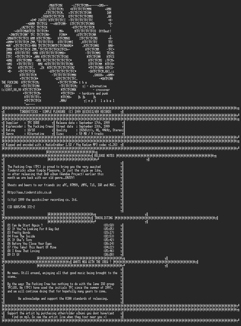 NFO file for Tindersticks-Simple_Pleasure-1999-TFC