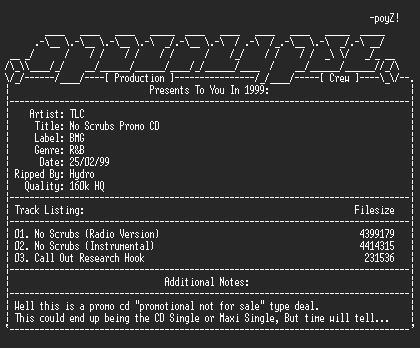 NFO file for Tlc-no_scrubs-promo_cd-1999-hydro-apc