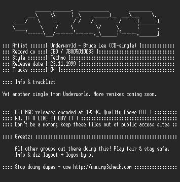 NFO file for Underworld_-_Bruce_Lee-(CDS1999)-MGC