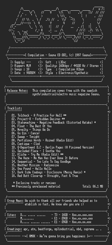 NFO file for Compilation-Sauna_CD_002-amok