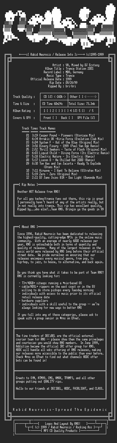 NFO file for VA-Trance_Station_2001-1999-RNS