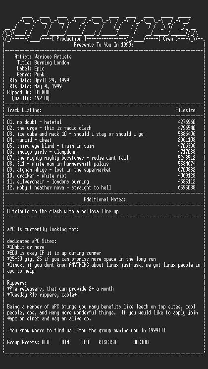 NFO file for Various_Artists-Burning_London_Clash_Tribute-1999-aPC