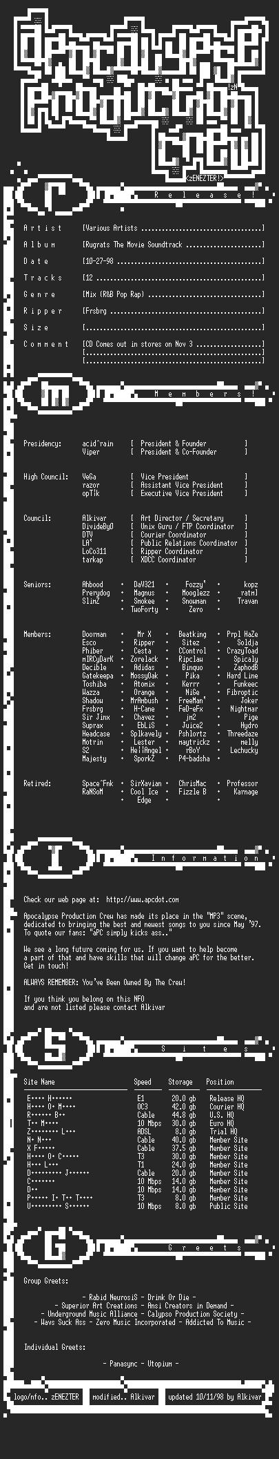 NFO file for Various_artists-rugrats-soundtrack-apc-frsbrg