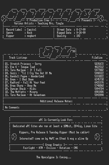 NFO file for Various_Artists-Teaching_Mrs_Tingle-1999-aPC