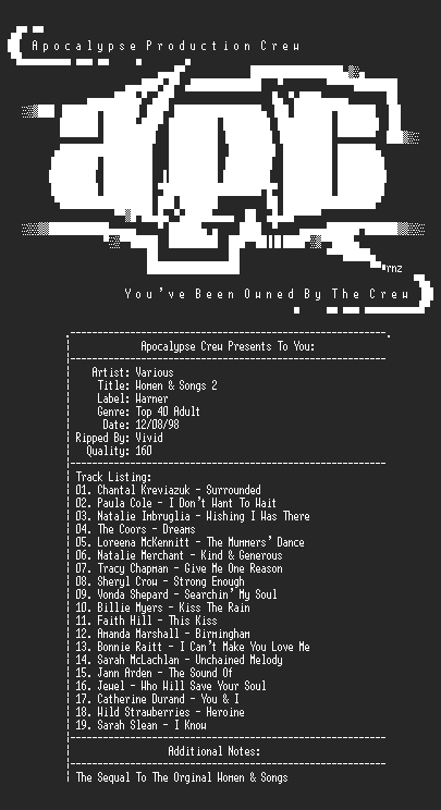 NFO file for Various_artists-women_and_songs_2-apc-vivid