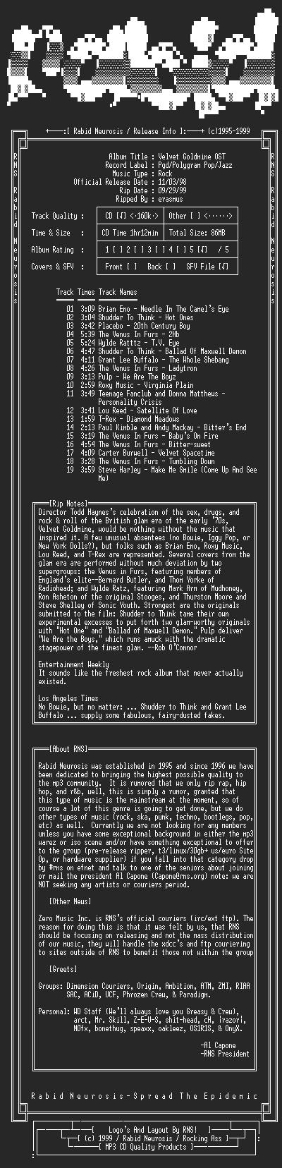 NFO file for VA-Velvet_Goldmine_OST-1998-RNS